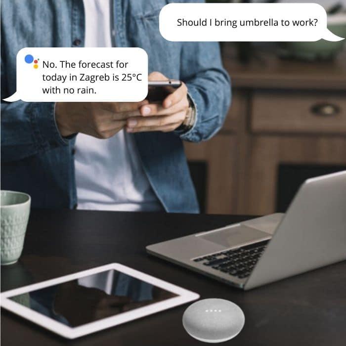 google home mini on a desk