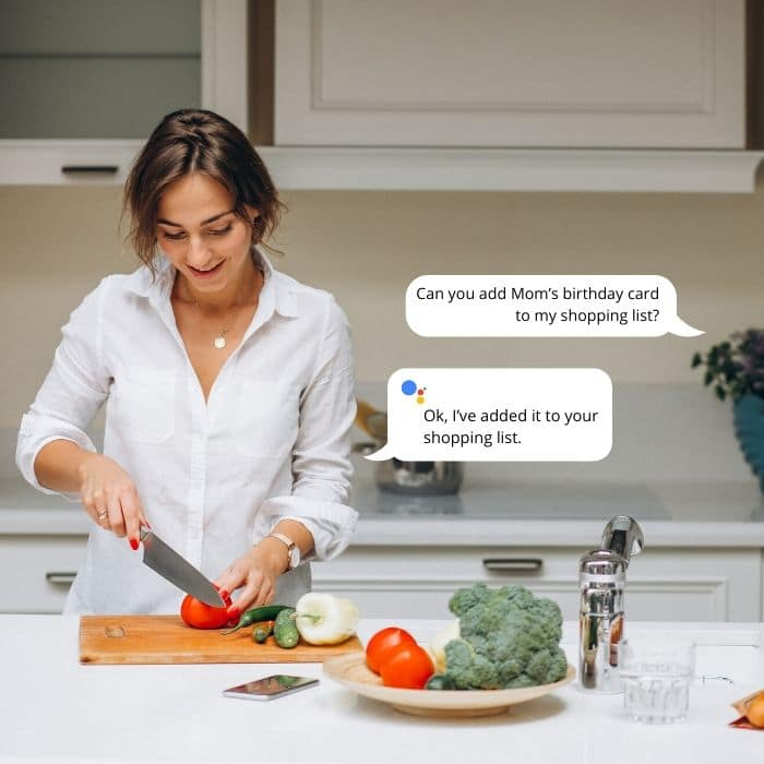 google home mini assisting you while cooking