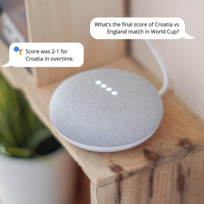 google home mini showing scores